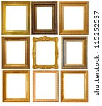 set of few gold picture frames. ... | Shutterstock . vector #115252537