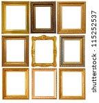 set of few gold picture frames. ... | Shutterstock . vector #115252537