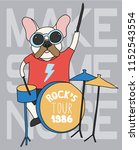 cute pug playing drums vector... | Shutterstock .eps vector #1152543554