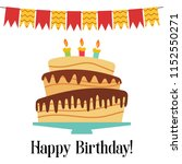 greeting card with sweet cake... | Shutterstock .eps vector #1152550271