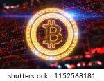 creative glowing bitcoin... | Shutterstock . vector #1152568181