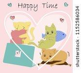 cute cartoon a little kitty cat ... | Shutterstock .eps vector #1152586034