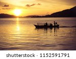 boat sunset landscape nature... | Shutterstock . vector #1152591791