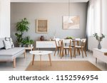 real photo of a spacious dining ...   Shutterstock . vector #1152596954