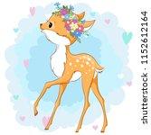 vector deer in a flower wreath...   Shutterstock .eps vector #1152612164