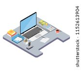 workplace in office. management ... | Shutterstock .eps vector #1152613904