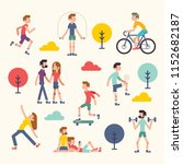 various people at park... | Shutterstock .eps vector #1152682187