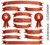 red and gold christmas ribbons... | Shutterstock .eps vector #115269409