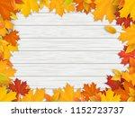 frame of fallen maple leaves....   Shutterstock .eps vector #1152723737