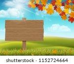 wooden sign on rural landscape... | Shutterstock .eps vector #1152724664