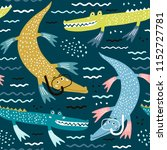 seamless pattern with crocodile ... | Shutterstock .eps vector #1152727781