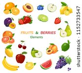 fruits and berries colorful... | Shutterstock .eps vector #1152733547