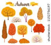 set of autumn stylized trees.... | Shutterstock .eps vector #1152756197