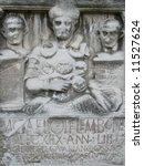 Small photo of Tombstone of the Roman Centurio Marcus Caelius, he died at the Battle of Teutoburg Forest, year 9 A.D., the German tribes ambushed and destroyed three Roman legions led by Publius Quinctilius Varus