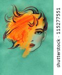 woman face. hand painted... | Shutterstock . vector #115277551