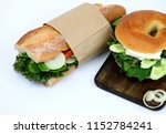 sandwiches with baguette and...