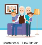 grandparents with grandchildren ... | Shutterstock .eps vector #1152784904