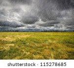 Heavy Rain Over A Prairie In...