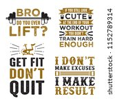 gym saying   quote set  100 ... | Shutterstock .eps vector #1152789314