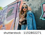 stylish casual hipster girl in... | Shutterstock . vector #1152802271
