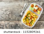 lunch box with healthy food... | Shutterstock . vector #1152809261