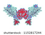 neck embroidery  lace print in... | Shutterstock .eps vector #1152817244