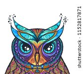 owl with tribal ornament. hand... | Shutterstock .eps vector #1152817871