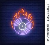 firing vinyl record neon sign.... | Shutterstock .eps vector #1152823637