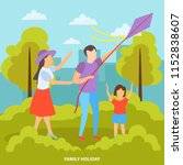family with kids summer outdoor ... | Shutterstock .eps vector #1152838607