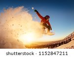 snowboarder jumps or flies... | Shutterstock . vector #1152847211