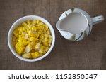 healthy breakfast boiled corn... | Shutterstock . vector #1152850547