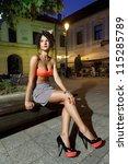 Beautiful Girl In Orange Bra...