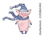 cute piggy in a hat and scarf.... | Shutterstock .eps vector #1152861404