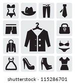 vector black clothing icon set... | Shutterstock .eps vector #115286701