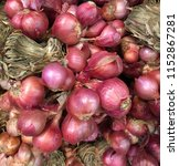 close up of shallot or red... | Shutterstock . vector #1152867281