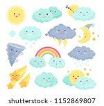 weather icons vector set... | Shutterstock .eps vector #1152869807