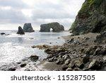 whimsical rocky on headland... | Shutterstock . vector #115287505