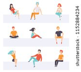 diverse people sitting on... | Shutterstock .eps vector #1152884234