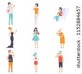 people drinking beverages set ... | Shutterstock .eps vector #1152884657
