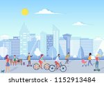 people with bikecycles ... | Shutterstock .eps vector #1152913484