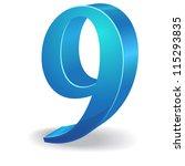 3d glossy nine 9 number  vector   Shutterstock .eps vector #115293835
