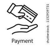 one hand offering a card for... | Shutterstock .eps vector #1152939731