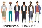 stylish handsome men dressed in ... | Shutterstock . vector #1152944717