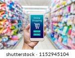 men hand holding modern mobile... | Shutterstock . vector #1152945104