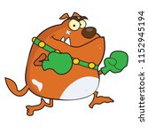 brown bulldog boxer with green... | Shutterstock .eps vector #1152945194