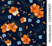 tropical vector seamless flower ... | Shutterstock .eps vector #1152949637