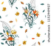 trendy floral pattern. isolated ... | Shutterstock .eps vector #1152949937