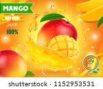 mango juice advertising.... | Shutterstock .eps vector #1152953531