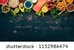 a set of healthy food. fish ... | Shutterstock . vector #1152986474
