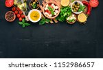 ingredients for italian caprese ... | Shutterstock . vector #1152986657